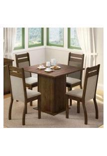 Conjunto Sala De Jantar Madesa Cannes Mesa Tampo De Madeira Com 4 Cadeiras Rustic/Crema/Pérola