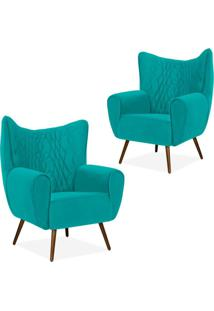 Kit 02 Poltronas Decorativas Para Sala De Estar Kora Pã©S Palito Tress㪠Veludo Liso Turquesa B-66 - Lyam Decor - Azul - Dafiti