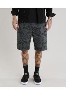 Bermuda Masculina Reta Estampada Camuflada Verde Militar