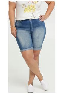 Bermuda Jeans Feminina Barra Dobrada Plus Size Biotipo