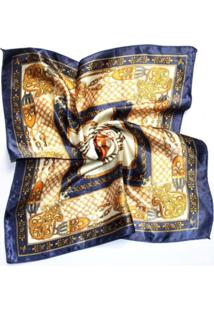 Lenço Artestore Estampado Azul-Marinho/Amarelo
