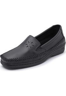 Sapato Sapatilha Pizaflex Anabela Confort Preto