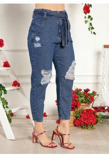 Calça Jeans Slouchy Com Faixa Grátis Sawary