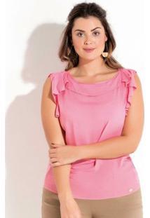 Blusa Plus Size Com Babado Quintess Feminina - Feminino-Rosa