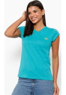 Camiseta Com Logo Da Marca- Verde & Douradaclub Polo Collection