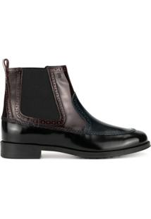 Tod'S Brogue Detail Ankle Boots - Preto