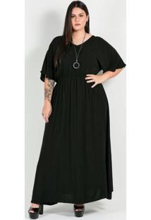 Vestido Longo Plus Size Preto Blusê