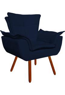 Poltrona Decorativa Opala Suede Azul Marinho - D'Rossi
