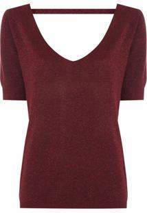 Le Lis Blanc Blusa De Tricô Com Brilho - Vermelho