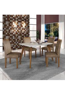 Conjunto Mesa Tampo De Vidro Off White Lavínia E 4 Cadeiras Pampulha Leifer Imbuia Mel/Branco/Animale Capuccino