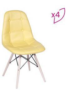 Or Design Jogo De Cadeiras Eames Boton㪠Amarelo & Bege Claro 4Pã§S