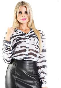 Camisa Manga Longa Preta E BrancaAlphorria