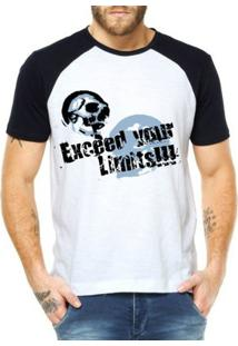 Camiseta Raglan Criativa Urbana Surf Exceed Your Limits Caveira - Masculino-Branco