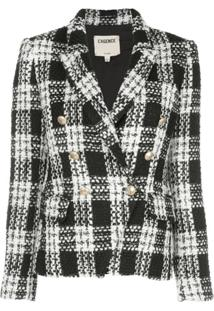 L'Agence Kenzie Double-Breasted Tweed Blazer - Preto