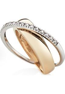 Anel Ouro Amarelo Ouro Branco E Diamante