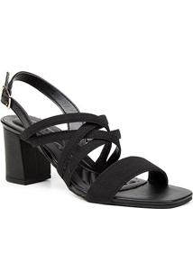 Sandália Couro Shoestock Elástico For You Salto Bloco Médio Feminina - Feminino-Preto