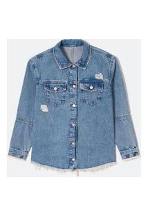 Jaqueta Oversized Jeans Com Bolsos E Barra Desfiada | Blue Steel | Azul | G