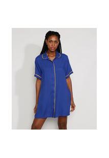 Vestido Chemise Feminino Mindset Curto Oversized Com Vivo Contrastante Manga Curta Azul Royal
