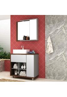 Conjunto Para Banheiro Com Espelheira E Cuba Lazio Móveis Bosi Nogal Malaga/Argento