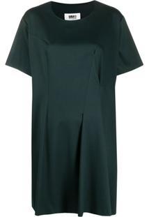 Mm6 Maison Margiela Vestido Reto Com Detalhe De Pregas - Verde