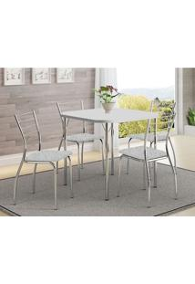Mesa 1510 Branca Cromada Com 4 Cadeiras 1700 Fantasia Branco Carraro