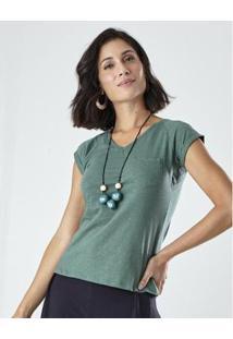 Blusa Malha Decote V Com Bolso Feminina - Feminino-Verde