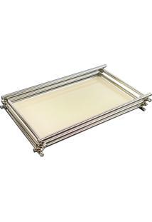 Bandeja Espelhada Vanilla Decorativa Em Metal Cromado 10X20Cm - Bege - Dafiti