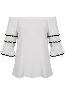 Blusa Mx Fashion Viscose Ombro A Ombro Elisa Off White