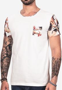 Camiseta Manga Floral Off 101740