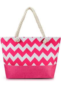 Bolsa De Praia Grande Nylon Jacki Design Estampada Pink