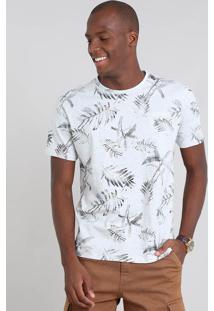 Camiseta Masculina Estampada Folhagem Com Bolso Manga Curta Cinza Mescla Claro