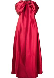 Alberta Ferretti Off-The-Shoulder Wrapped Bow Gown - Vermelho