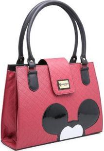 Bolsa Gouveia Costa Mickey Mouse Compacta Alça Dupla Mão Feminina - Feminino-Vermelho