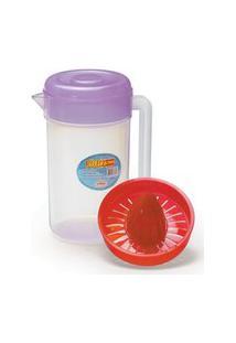 Kit Jarra C/Espremedor E Tampa Cozinha Plastico 2 Litros