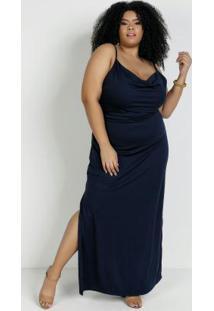 Vestido Longo Marinho Decote Degagê Plus Size