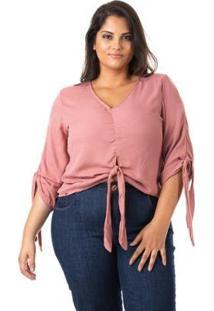 Blusa Crepe Com Laço Plus Size Confidencial Extra Feminina - Feminino-Rosa
