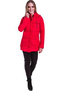 Jaqueta Sobretudo Acolchoado Frio Inverno Carbella Vermelha
