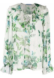 Blumarine Blusa De Seda Com Estampa Floral - Branco