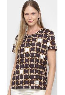 Camiseta Lança Perfume Estampada Feminina - Feminino-Dourado+Preto