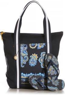 Kit Chinelo Blue Bags + Bolsa Shop Mandala - Feminino-Azul