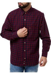 Camisa Manga Longa Masculina Vermelho/Azul