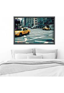 Quadro Love Decor Com Moldura New York City Grafitti Metalizado Grande