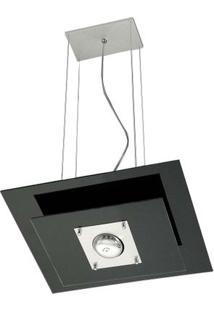 Pendente De Alumínio Spacial Retangular Vidro Preto 1 Lâmpada 100W Pantoja