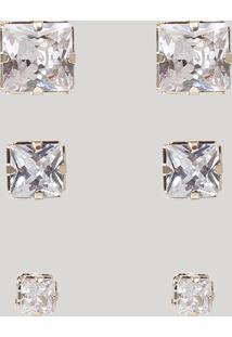 Kit De 3 Brincos Femininos Folheados Quadrados Com Pedra Brilhante Dourado