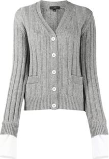 Jejia Ribbed Knit Cardigan - Cinza
