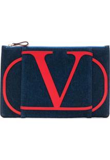 Valentino Bolsa Clutch Jeans Com Logo - Azul