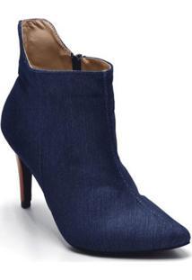 Bota Cano Curto Bico Fino Jeans Azul