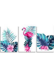 Quadro Oppen House 60X120Cm Folhagem Com Flamingo Canvas Decoração