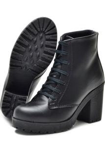 Bota Navit Shoes Tratorada Woman Fosco Preto