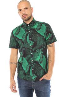 Camisa Krew Reta Tropical Azul-Marinho/Verde